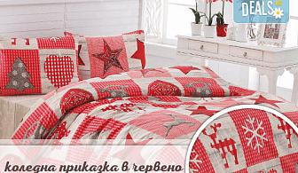 """За Коледа! Спално бельо лукс за празниците: комплект """"Коледна приказка"""" в синьо/ червено или """"Снежна картина"""" от Zavivkite.com!"""
