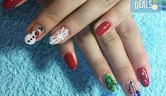 Коледен маникюр с 2 или 4 рисувани декорации: Дядо Коледа, елени, снежинки, елха, 3D топки в салон за красота Miss Beauty!