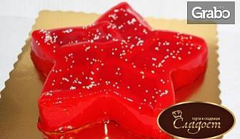 Коледна торта във формата на елха или звезда