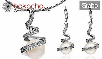 "Колие, обеци или сет ""Нежна перла""с 18К бяло златно покритие"
