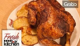 Комбо меню със свински джолан, цяло или ½ пиле на барбекю