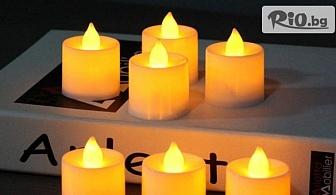 Комплект от 12 броя електронни led чаени свещички с мигащ пламък, от Svito Shop