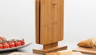 Комплект дъски от бамбук с поставка (7 части)