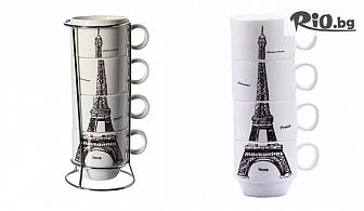 "Комплект керамични чаши за кафе на метална стойка ""Айфелова кула"", от Svito Shop"