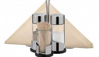 Комплект за сол, млян пипер, салфетки и клечки за зъби на стойка Tescoma от серия Club