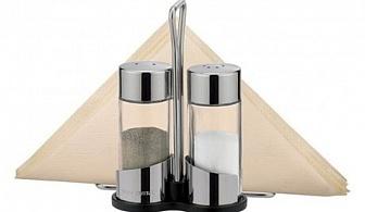 Комплект за сол, млян пипер и салфетки на стойка Tescoma от серия Club