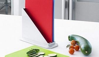 Комплект от 3 бр. ярки кухненски дъски с поставка