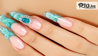 Красиви ръце! Ноктопластика с удължители, лак O.P.I. или SNB и 2 декорации, камъчета, от MNJ Studio за красота
