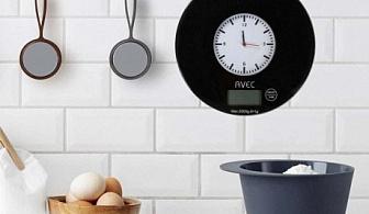 2 в 1 кухненска везна и стенен часовник