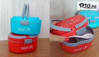 Кутия за храна Lunch box с 3 отделения и лъжичка /в червен или син цвят/, от Svito Shop