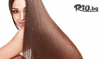 Ламиниране на коса с кератинова URS преса + подстригване, маска и сешоар или премахване на цъфнали крайчета с полировчик на цени от 8.90лв, от Салон за красота Мелани - Център
