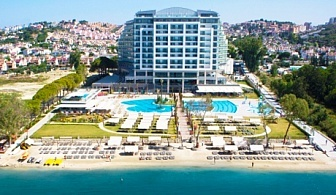 Лукс, СПА и много забавления на 1-ва линия в Кушадасъ, Турция! 7 нощувки на база ULTRA All Inclusive + 2 басейна и частен плаж от хотел Amara Sea Light 5*  ДВЕ деца -БЕЗПЛАТНО