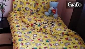 Луксозен бебешки спален комплект от 100% памучен сатен, в десен по избор