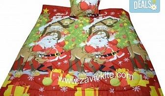 "Луксозен комплект ""Коледа"" 100% ранфорс: олекотена завивка с щампа Дядо Коледа + калъфка за възглавница - единичен или двоен, от Zavivkite!"