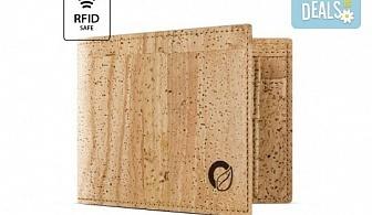 Луксозен мъжки RFID портфейл от естествен корк на CorkOr, Португалия, ръчна изработка!