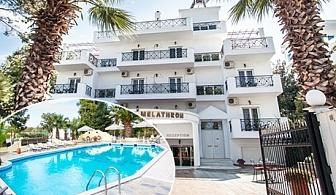 Май на 100м. от плажа в Платотомос Пиерия, Гърция! Нощувка със закуска и вечеря + басейн в хотел Olympion Melathron