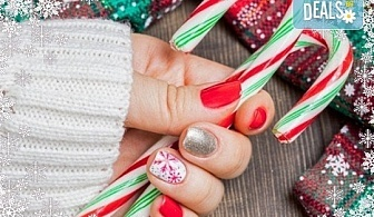 Маникюр за Коледа и за Нова година с гел лак BlueSky, 2 тематични декорации (рисунки), вграждане на камъчета и смесване на цветове от Салон Мечта!