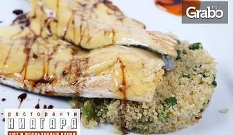 Миди по средиземноморски, филе пъстърва с ризото от киноа, октопод на скара, или пилешко филе с пармиджано и ориз