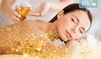 90-минутен СПА пакет - лечебен или кралски масаж на цяло тяло и глава с нано злато и детоксикиращ масаж с мед на гръб, бонус - рефлексотерапия на стъпала