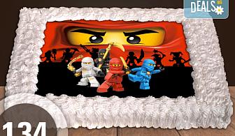 За момчета! Вземете голяма торта 20/ 25/ 30 парчета със снимка на герои от любимите детски филмчета - Ниднджаго, Костенурките Нинджа, Спайдърмен и други от Сладкарница Джорджо Джани!