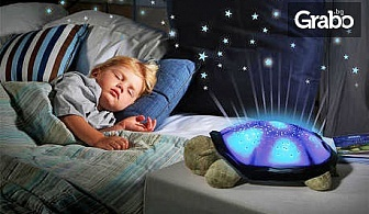 Музикална лампа костенурка с 4 мелодии и сменящи се цветове