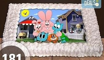 За най-малките! Голяма торта със снимка 20, 25 или 30 парчета за празника на Вашето дете с герой от филм от Сладкарница Джорджо Джани