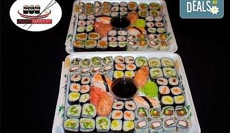 Насладете се на японската кухня! Вземете 108 суши хапки с пушена сьомга, скариди, сурими раци и филаделфия от Sushi Market!
