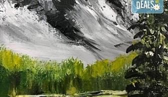 """Незабравимо 3-часово творческо преживяване! Студио за рисуване и вино Art and Wine. На 29 септември от 18:30ч - на тема """"В планината"""""""