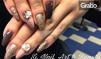 Ноктопластика с гел Crystal Nails, лакиране с гел лак и 2 декорации