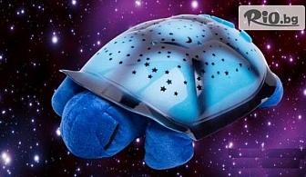 Нощна лампа плюшена костенурка, проектираща съзвездия + БОНУС: адаптер за контакт, от Hipo.bg