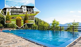 Нощувка на човек със закуска и вечеря + панорамен басейн и релакс център в Хотел Лещен, с. Лещен