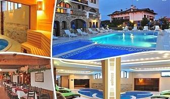 Нощувка на човек със закуска и вечеря + външен и вътрешен топъл басейн + джакузи и парна баня в хотел Винпалас, Арбанаси
