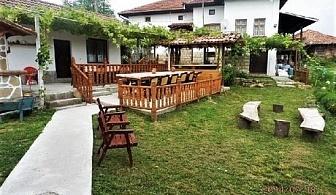 Нощувка и закуска за до 12 човека в къща При Шопа с басейни, голям двор с детски кът и механа в Еленския балкан, с. Лазарци