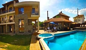 1 или 2 нощувки за 35 човека, настанени в 2 къщи + външен басейн и джакузи с минерална вода от Къща за гости Биг Хаус, Огняново