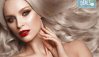 Нов цвят! Боядисване с Ваша боя, масажно измиване с шампоан според типа коса, нанасяне на маска и оформяне на прическа със сешоар в Bossa Nova!