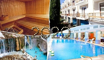 Нова Година в Лутраки Позар, Гърция! Транспорт + 3 нощувки на човек със закуски, 1 вечеря + доплащане за празничен куверт + басейн и СПА от ТА Албатрос турд