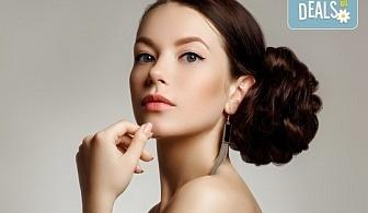 Нова прическа! Измиване на косата, нанасяне на маска и стилизанти и кок по избор в салон Ева
