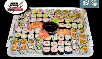 Опитайте 74 суши хапки с пушена сьомга, хайвер, филаделфия и херинга от Sushi Market!