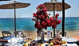 На ПЪРВА ЛИНИЯ в Гърция! Нощувка със закуска и вечеря в хотел Angelos Garden, Tорони,  Халкидики