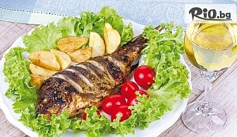 Печен или пържен шаран, пъстърва или сьомгова пъстърва, по избор + гарнитура варени картофи и зеле с моркови + пърленка, от Ресторант Перла
