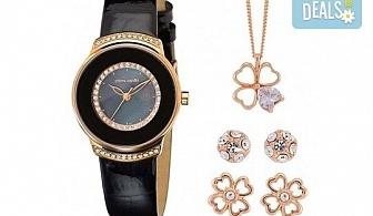 Pierre Cardin комплект с часовник, колие с детелина и два чифта обеци в розово злато