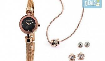 Pierre Cardin - романтичен комплект в розово злато с часовник, 2 чифта обеци и колие