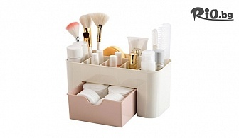 Пластмасов органайзер за гримове и козметика с 6 отделения и чекмедже за козметични тампони, от Svito Shop