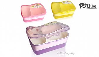 Пластмасова кутия за храна на две нива и с 3 отделения, от Svito Shop