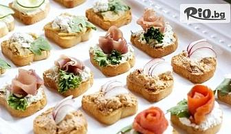 5 плата с 90 броя мини сандвичи и кроасанчета, аранжирани и декорирани за директно сервиране, от Криейтив кетъринг