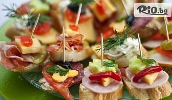 3, 5 или 7 плата с коктейлни хапки - 90, 140 или 195 броя, аранжирани и декорирани за директно сервиране, от Криейтив кетъринг
