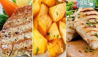 Плато за цялата компания! Пилешки и свински карета, свински ребърца на скара и картофи соте от сръбски ресторант Зафо!