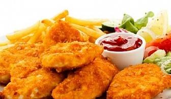 Плато пържени картофки и 30бр. хапки пилешко бон филе пане + БЕЗПЛАТНА ДОСТАВКА само за 23лв.oт H&D кетъринг