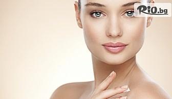 Почистване с ултразвук, подхранване с безиглена мезотерапия и светлинна терапия за кожа страдаща от акне, от Център Здраве и красота
