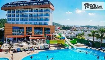 Почивка в Анталия, Сиде! 7 All Inclusive нощувки + басейни, СПА, водни занимания и спорт, детски програми в THRONE BEACH RESORT and SPA 5* + Безплатно за дете до 12г, от Дениз Травел